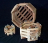 Wood Octagonal Orchid Vanda Baskets. 6, 8,10 & 12 in.